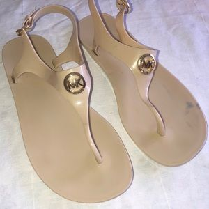 MK Size 9/9.5 tan jelly thong sandals